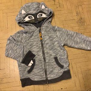 OshKosh Raccoon Zip Up Sweatshirt 18M Hooded